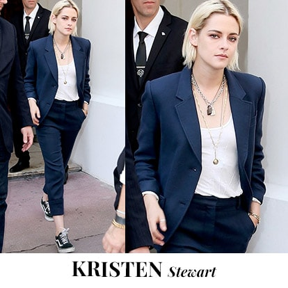 "<p><font color=""#000000"" face=""arial, helvetica, sans-serif"">Keep it classy  and elegant like Kristen Stewart with this navy blue blazer and cropped  pants. Accessorize with statement accessories to stand out in the  crowd. <br />
