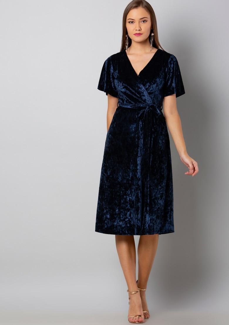 Buy Women Navy Belted Wrap Velvet Midi Dress Skater Dresses Online India Faballey