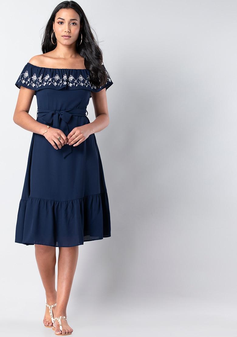 Navy Embroidered Off Shoulder Midi Dress