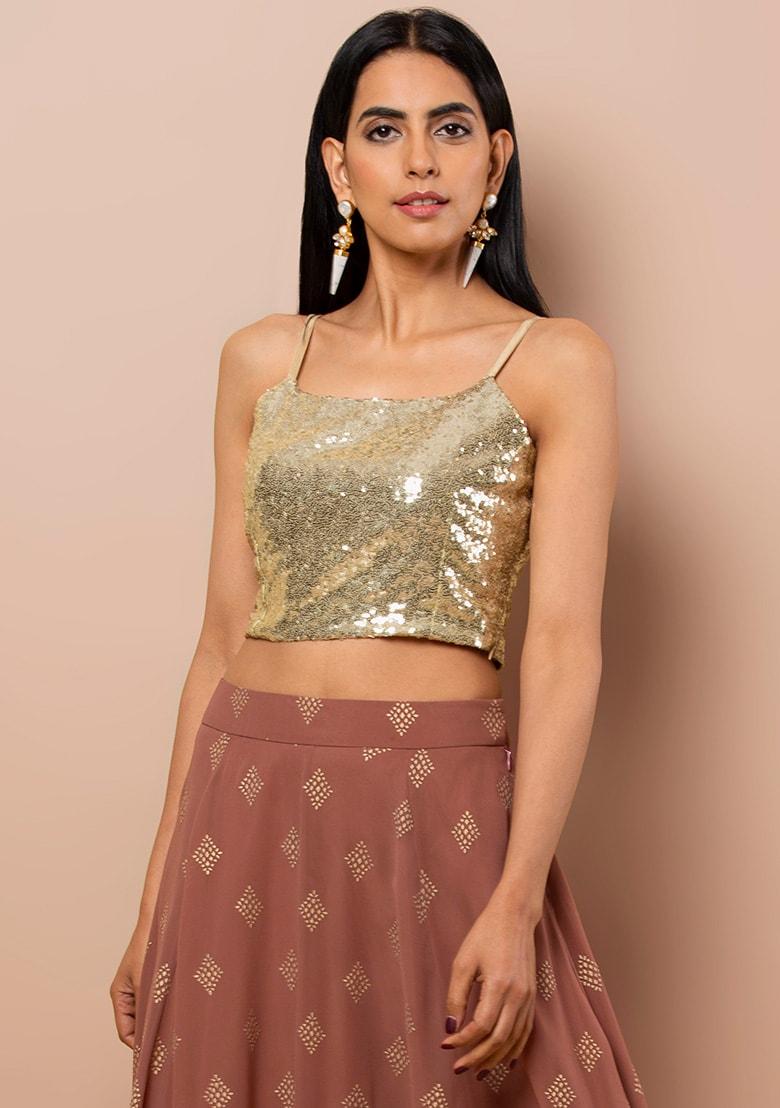 Buy Women Gold Sequin Strappy Crop Top   Crop Tops   Indya