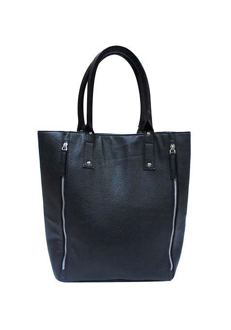 Zipped Side Black Tote Bag