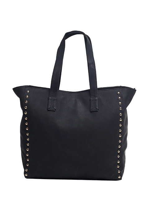 Bold Black Studded Tote Bag