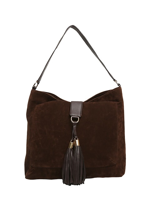 Brown Suede Slouchy Hobo Bag