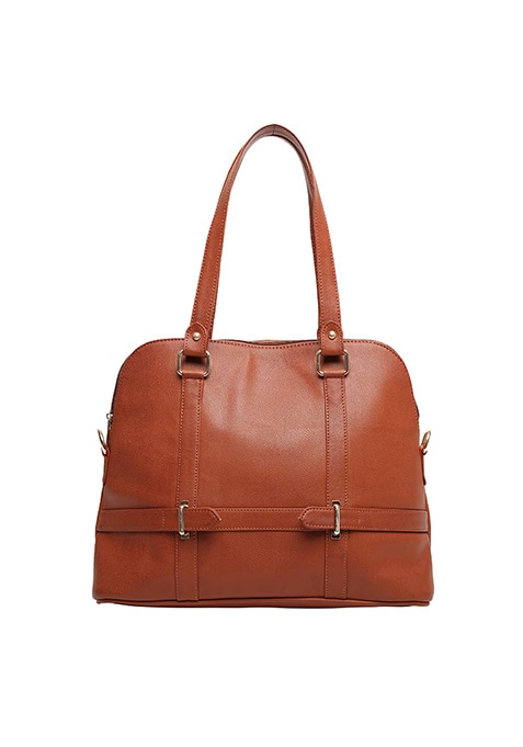 Tan Buckled Tote Bag
