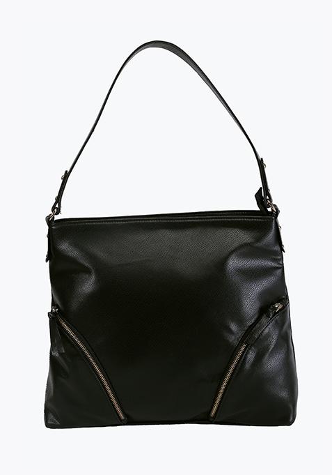 Black Zip Detail Shoulder Bag