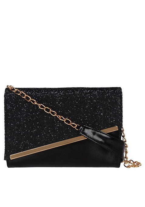 Sequin Mini Shoulder Bag - Black