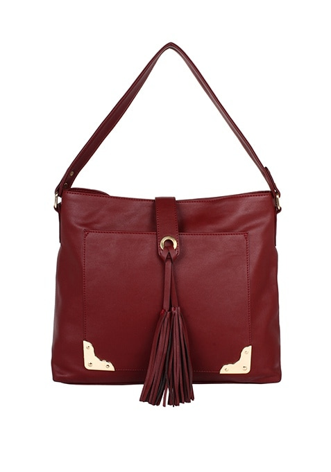 Tassel Oxblood Hobo Bag