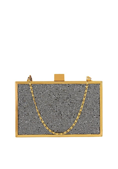 Glitter Glam Boxy Clutch - Silver