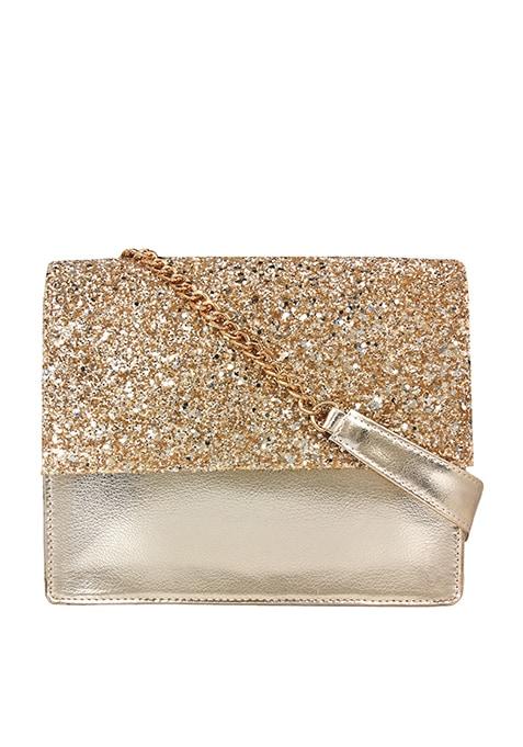 Glitter Flap Bag - Gold