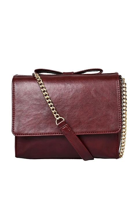 Bow Cross Body Bag - Maroon
