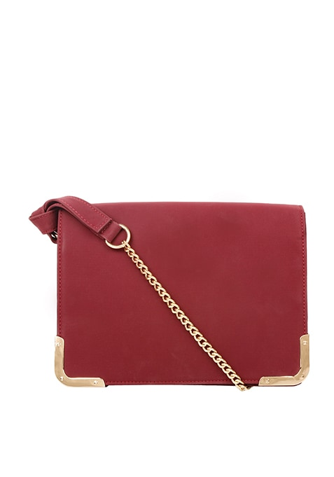 Side Trim Sling Bag - Maroon