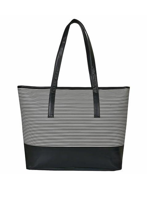 Black Striped Tote Bag