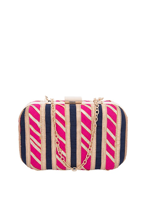 Pink Embellished Silk Box Clutch
