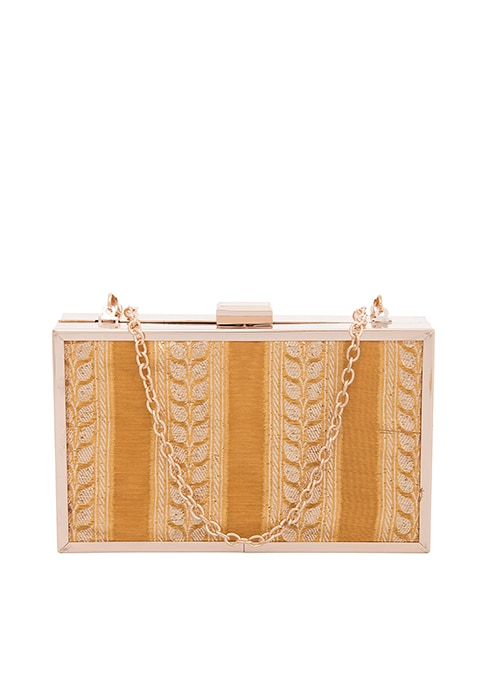 Mustard Paneled Silk Box Clutch