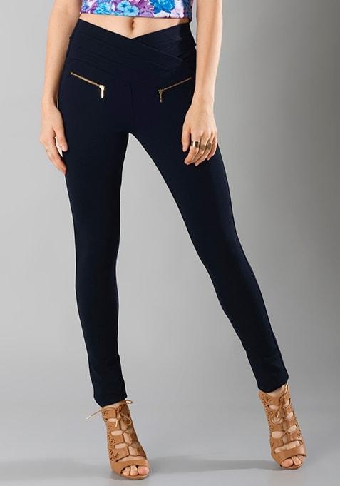 Zipped Skinny Treggings - Blue