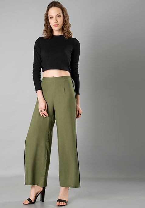 Side Slit Pants - Olive