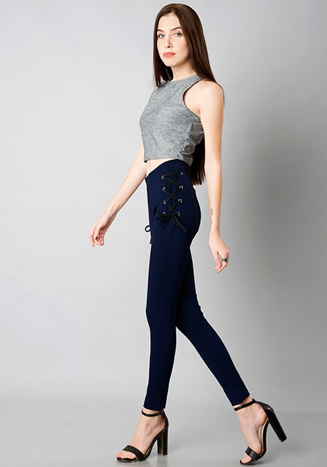 Side Waist Tie Up Leggings - Navy