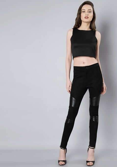 Black Leather Patch Suede Leggings