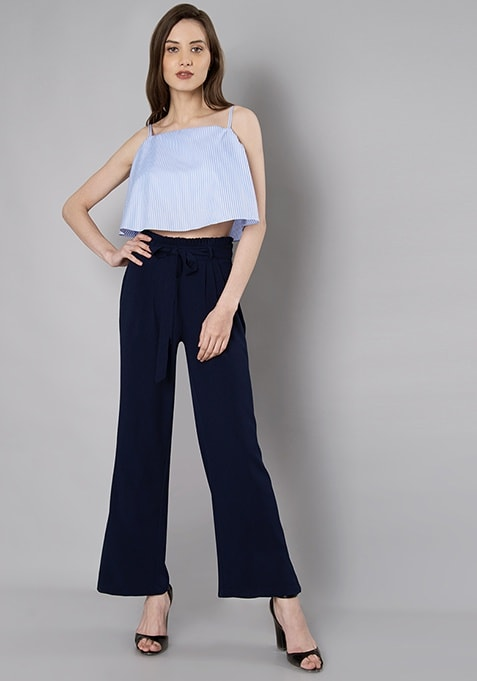 Navy Paperbag Waist Belted Flared Pants