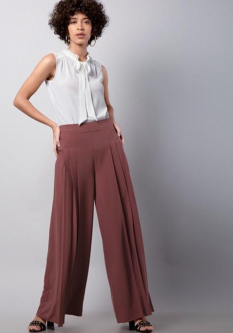 Pink Pleated Wide Legged Pants