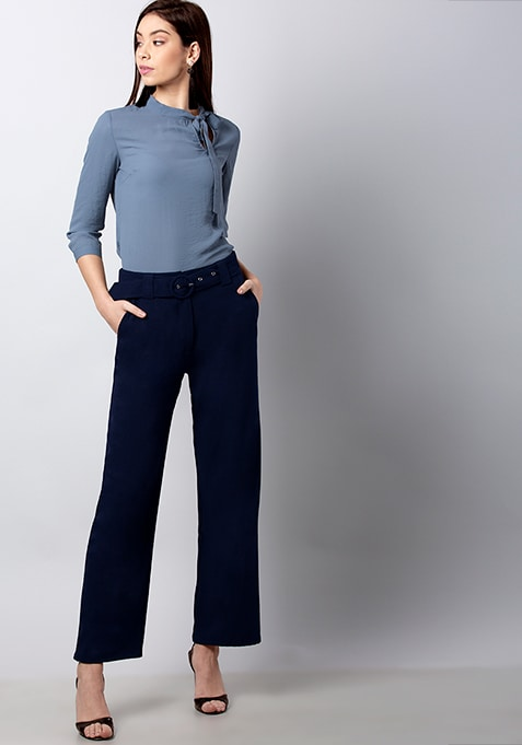 CLASSICS Navy Belted Wide Legged Trousers