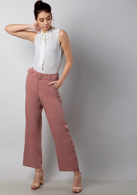 CLASSICS Pink Belted Wide Legged Trousers