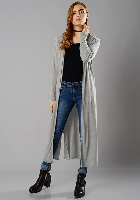 Longline Drape Shrug - Grey