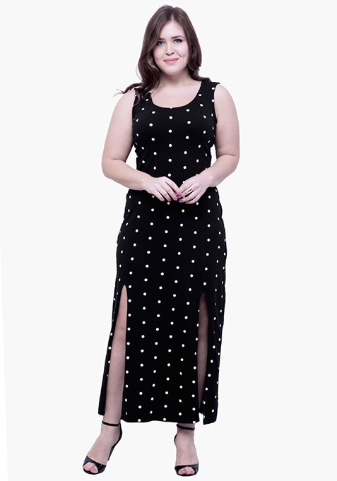 CURVE Polka Split Maxi Dress