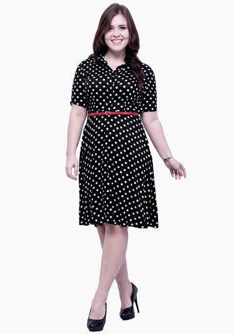 CURVE Fit & Flare Polka Shirt Dress