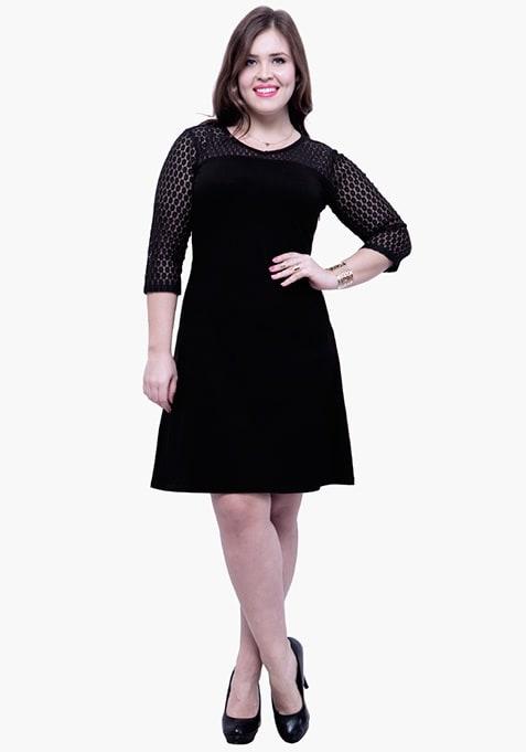 CURVE Lace Mire Skater Dress - Black