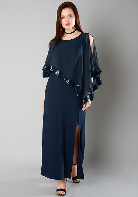 CURVE Cape Sequin Maxi Dress - Navy
