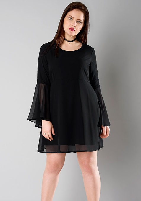 CURVE Bell Sleeve Skater Dress - Black