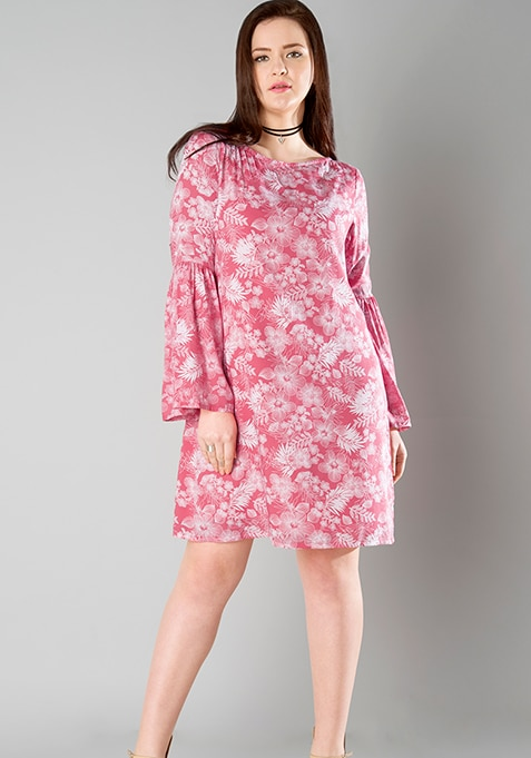 CURVE Flared Bell Sleeve Dress - Pink Floral