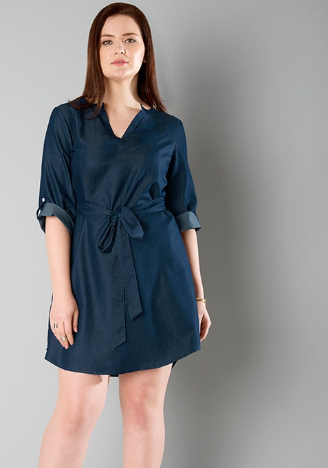 CURVE Belted Dark Denim Dress