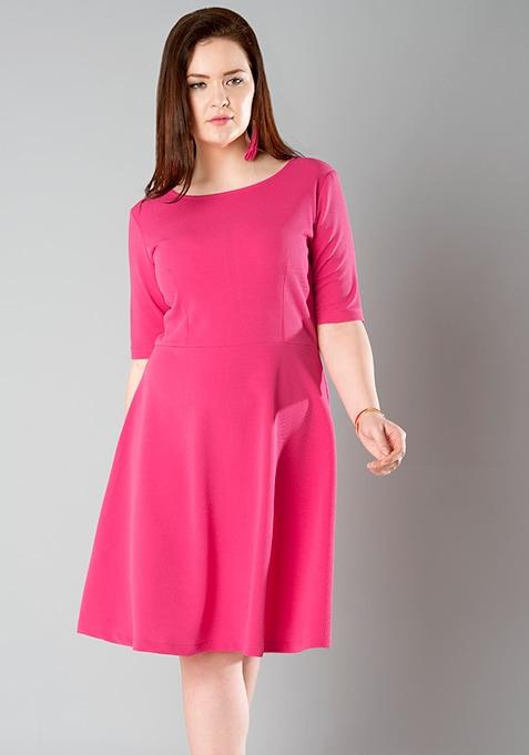 Buy Women CURVE Fuchsia Midi Skater Dress - Curve Skater Dresses ... 1a4ed95ec