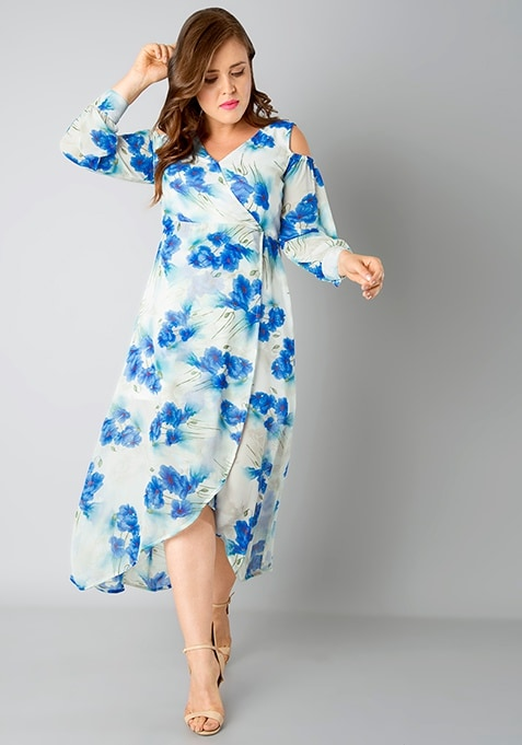 CURVE Tulip Hem Maxi Dress - Blue Floral