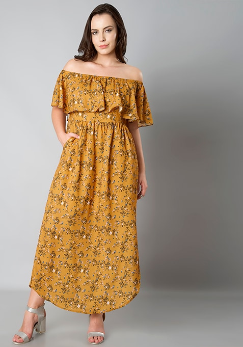 CURVE Ruffle Off Shoulder Maxi Dress - Ditsy