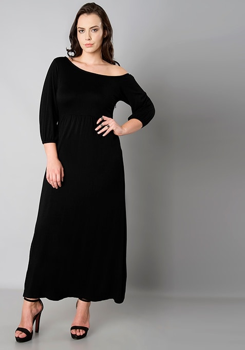 CURVE One Shoulder Maxi Dress - Black
