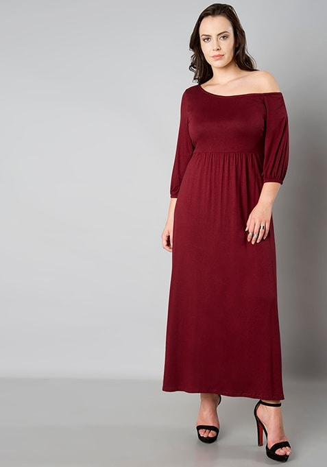 CURVE One Shoulder Maxi Dress - Oxblood