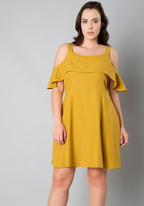 CURVE Ruffle Skater Cold Shoulder Dress - Mustard