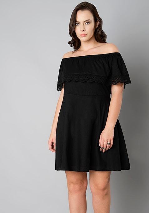 CURVE Black Off Shoulder Ruffle Dress