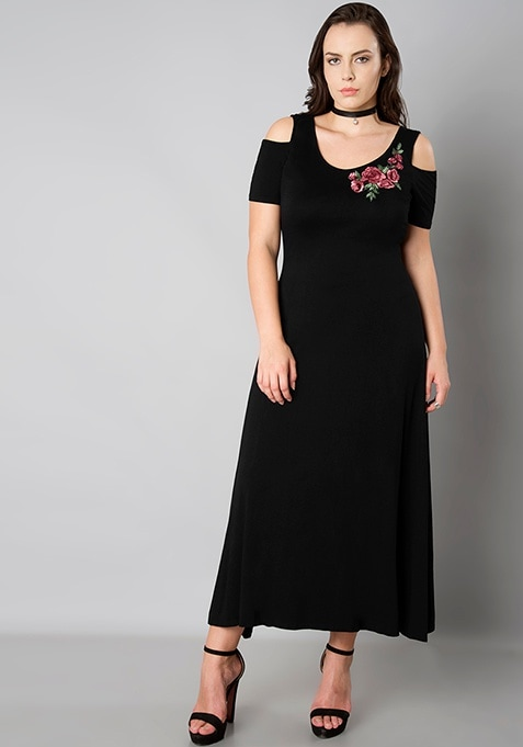 CURVE Cold Shoulder Jersey Maxi Dress - Black
