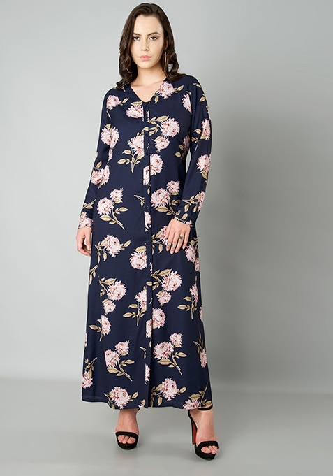 CURVE Button Down Maxi Dress - Navy Floral