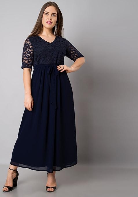 CURVE Navy Lace Yoke Georgette Maxi Dress