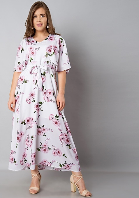 CURVE White Floral Butterfly Sleeve Maxi Dress