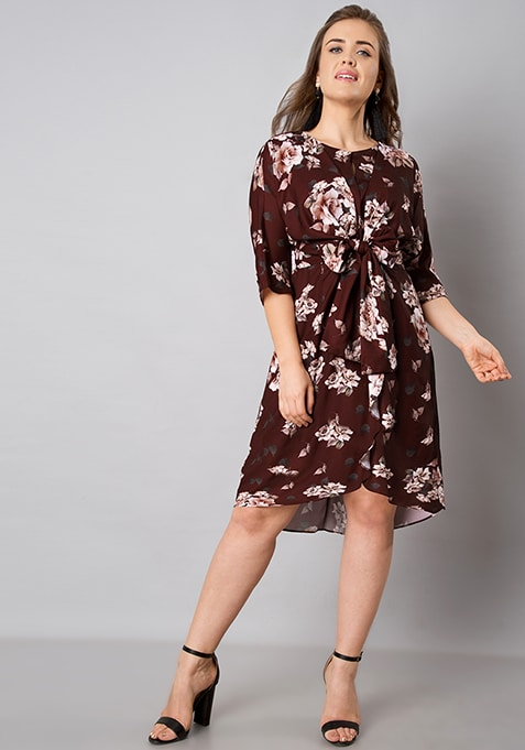 CURVE Oxblood Tie Up Floral Dress