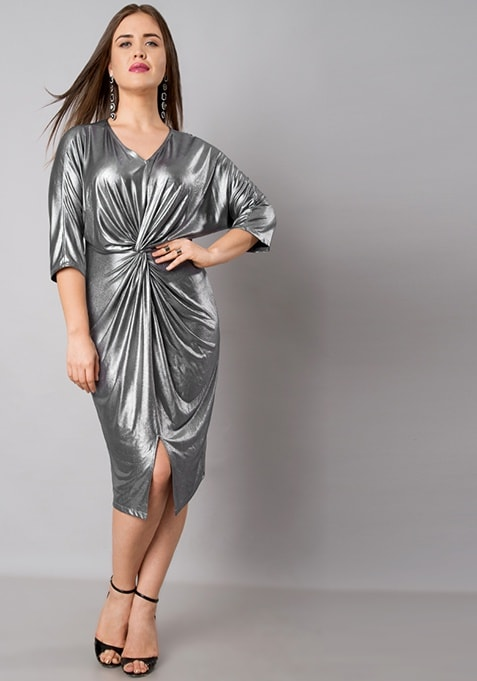 CURVE Silver Knotted Lurex Midi