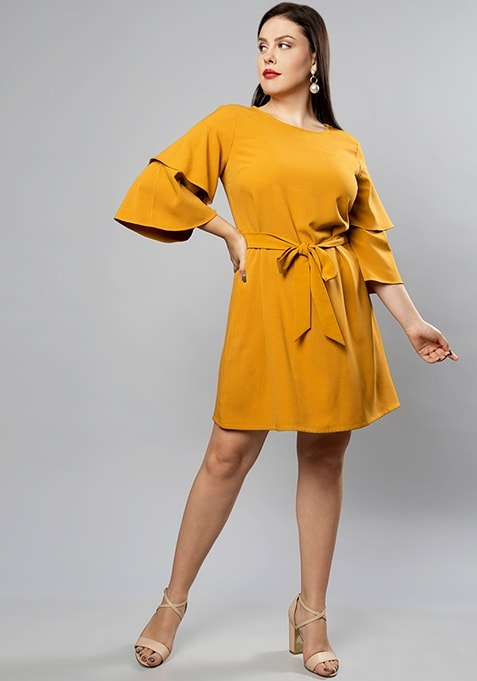 CURVE Mustard Layered Bell Sleeve Shift Dress