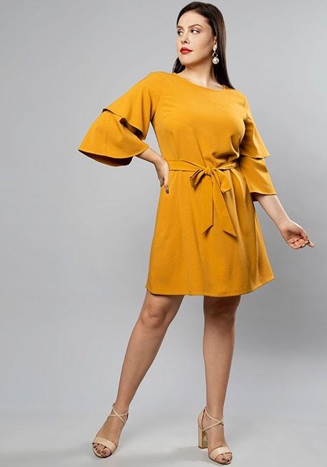 CURVE Mustard Layered Bell Sleeve Shift Dress