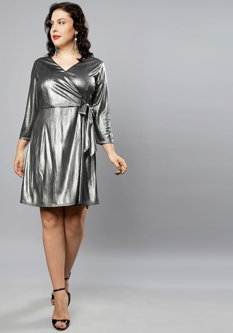 CURVE Silver Shimmer Wrap Dress